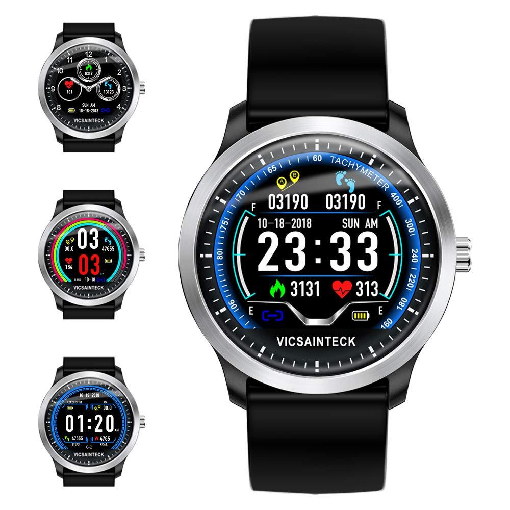 Vicsainteck Reloj Inteligente, Smartwatch con Pulsómetro Pulsera Actividad Multifuncion Color Monitor Reloj Deportivo Monitor de Sueño Hombre Mujer ...