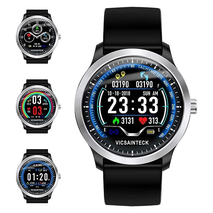 Vicsainteck Montre Connectée, Bluetooth Smartwatch Femmes Homme Enfant Fitness Tracker Bracelet Sport Podomètre Cardiofrequencemetre 1,22 Pouces Couleur ...