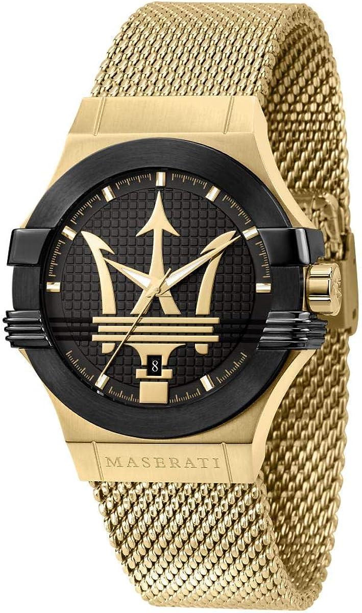 Maserati Reloj para Hombre, Colección Potenza, en Acero Inoxidable, PVD Oro Amarillo, con Correa de Acero Inoxidable - R8853108006
