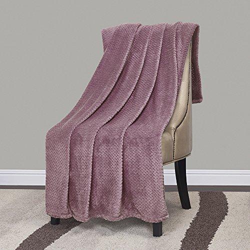 Blanket Heather (Simple&Opulence Solid Coral Jacquard Dot Velvet Throw Blanket (Heather, 50