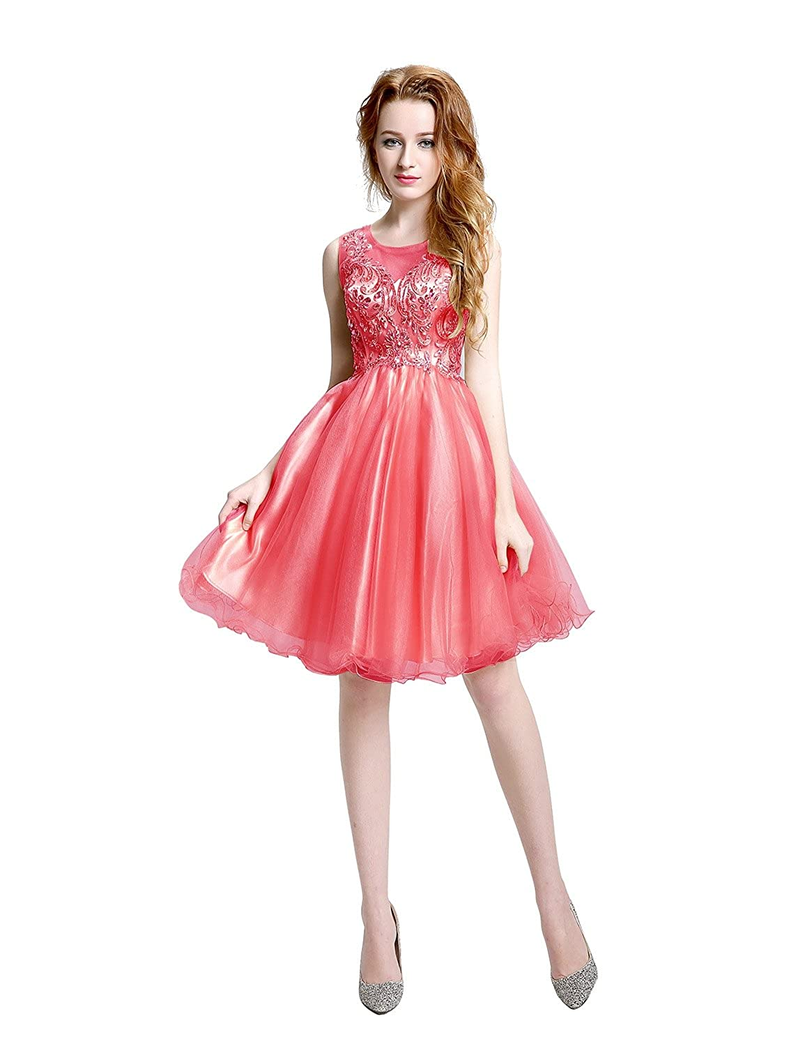 Sarahbridal Women's A-line Tulle Homecoming Rhinestones Short Formal Prom Dress LX142