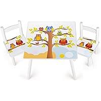 Tavolino Sedie Set Cameretta Per Bambini Tavolo e 2 Sedie In Legno Lettura Gioco Di Gruppo In Classe e Casa Mobili Soggiorno Gufi