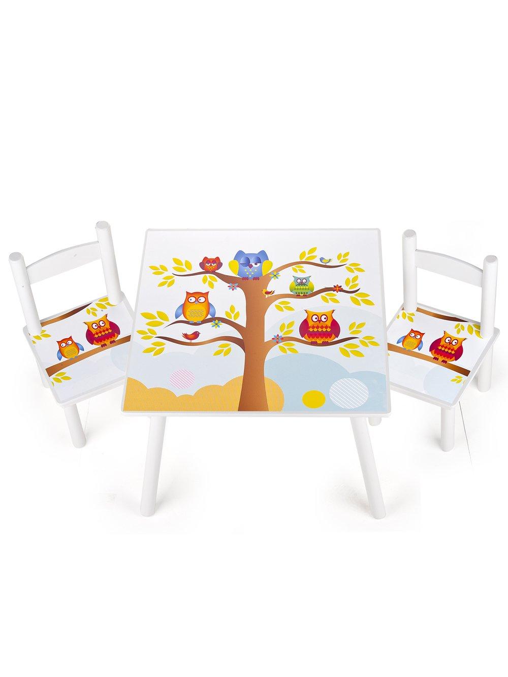 table et 2 chaises enfant motif de hiboux chambre enfant meuble enfant mobilier chaise denfant baby amazonfr cuisine maison - Chaise Et Table Enfant