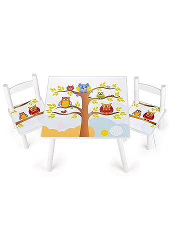 Leomark Weiss Tisch Und Stuhle Fur Kinder 1 Tisch Und 2 Stuhle Motiv