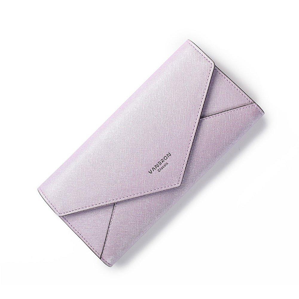 Womens PU Saffiano Leather Envelope Long Clutch Wallet Large Capacity Card Holder Cash Coin Checkbook Organizer Buckle Snap Travel Purse Handbag (Purple)