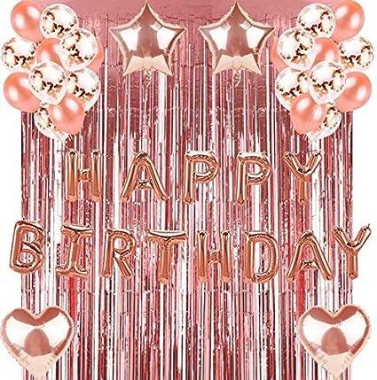10PCS 12inch Foil Latex Rose Gold Confetti Ballons Happy Birthday Party Decor HL