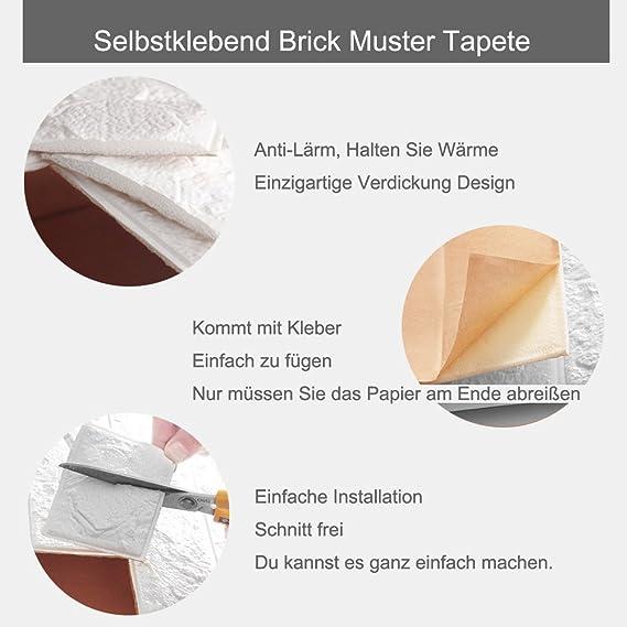 20 Stück Selbstklebend Brick Muster Tapete Wasserdicht~Tapeten  Stein~Wandtapete Steine~Steinoptik Mauer~Mustertapete In  Backsteinoptik~Wand Paneele Für ...
