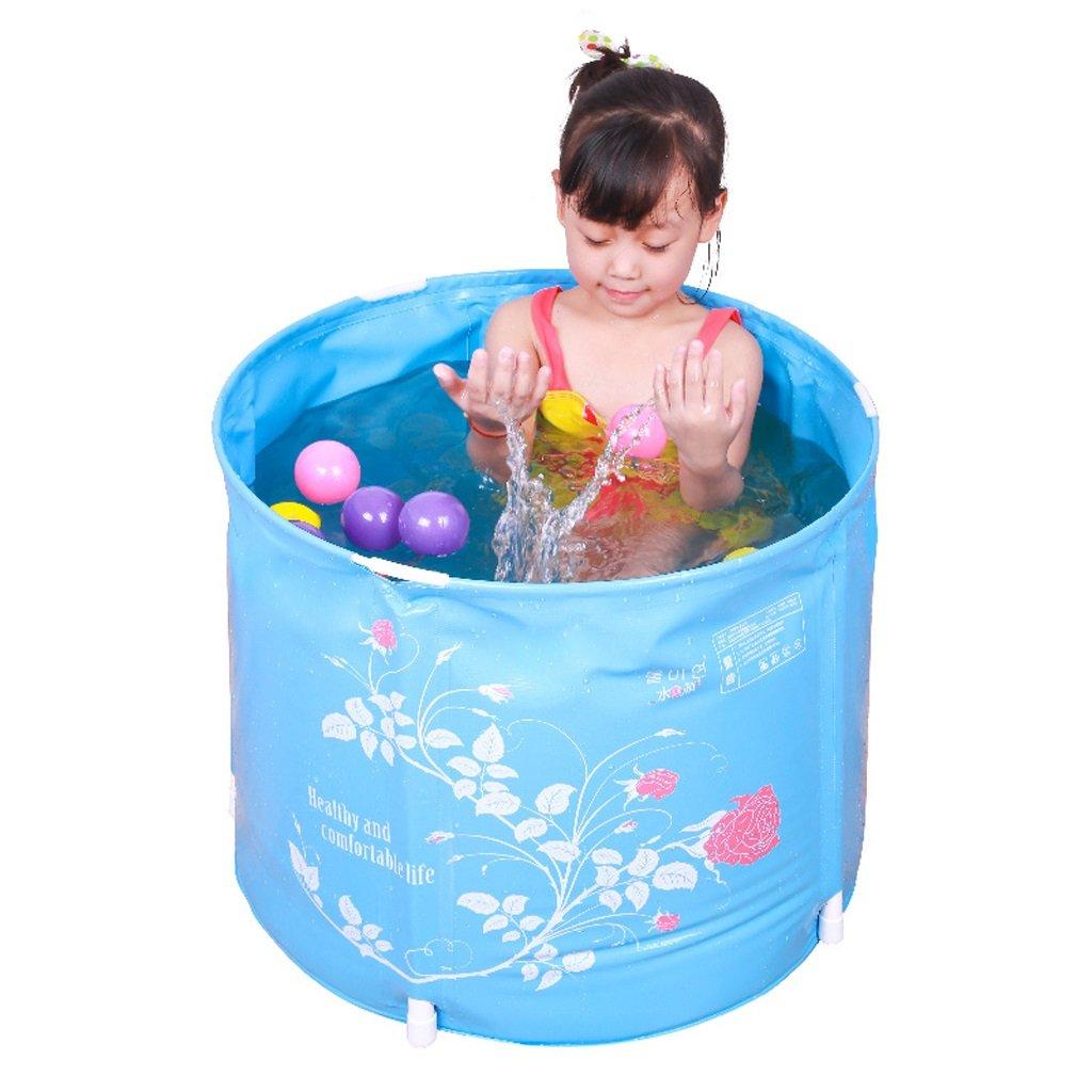 Hyun times Bath tub 58 45cm blue inflatable folding thickened plastic baby child bath tub by Hyun times Bathtub