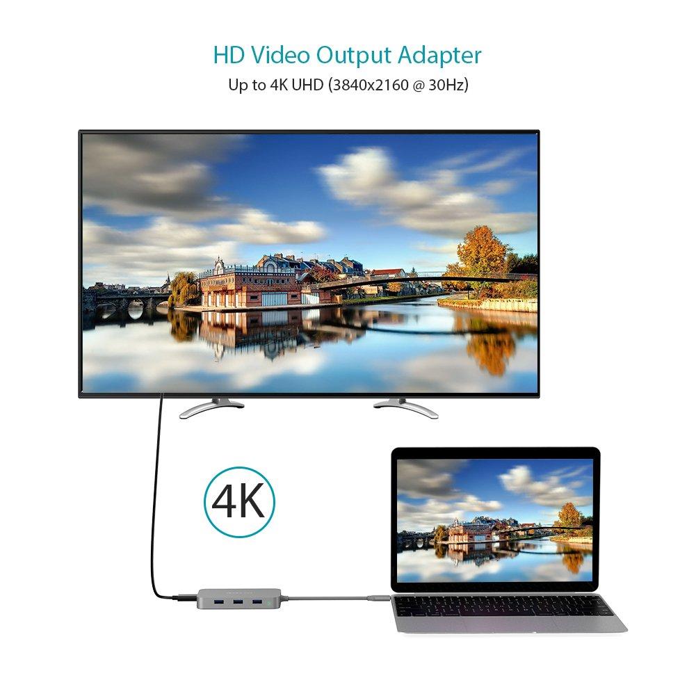 Lector de Tarjetas SD//Micro SD Concentrador para MacBook//MacBook Pro//MacBook Air//Huawei Matebook X//Samsung S8//S9 dodocool 7 en 1 HUB USB C 3 * USB 3.0 Adaptador Tipo C con 4K HDMI Carga Tipo C
