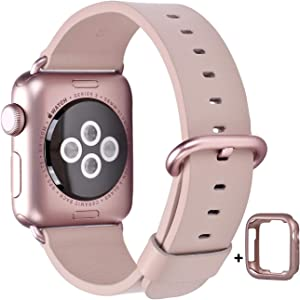 JSGJMY Compatible with Apple Watch Band 38mm 40mm 42mm 44mm Women Men Genuine Leather Strap for iWatch Series SE 6 5 4 3 2 1(Soft Pink with Pink Rose Clasp, 42mm/44mm M/L)