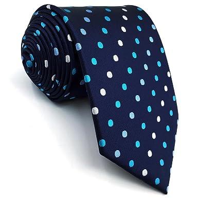 Shlax&Wing Hombre Seda Corbatas Para Traje De Negocios Azul Puntos ...