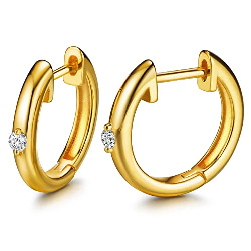 c426962c4a5a5a Hoop Earrings 24K Gold Plated Huggie Earrings For Women And Girl (24k  Plated One CZ