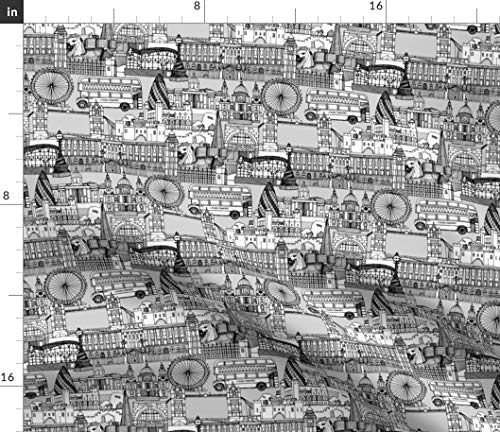 Spoonflower London Toile Fabric - Black White England and Illustration Buildings Bus Scrummy Print on Fabric by The Yard - Basketweave Cotton Canvas for Upholstery Home Decor Bottomweight Apparel