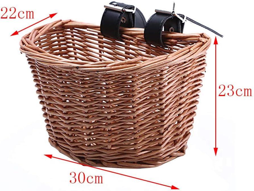Cesta de mimbre para bicicleta para ni/ños y ni/ñas GGHKDD dise/ño vintage con correas de piel bronceada rat/án para manillar delantero