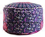 Indian Peacock Mandala Ottoman Pouf Cover Round Floor Pillow Ottoman Living Room Large Seating Floor Pillow Cover Ottoman Cover pouf Cover Boho Hippie By ''Handicraft-Palace''