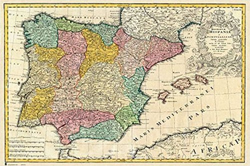 Antique Map Of Spain - Mapa Antiguo De Espana - Poster / Print (Spanish Version) (Size: 36'' x 24'') (By POSTER STOP ONLINE) by POSTER STOP ONLINE