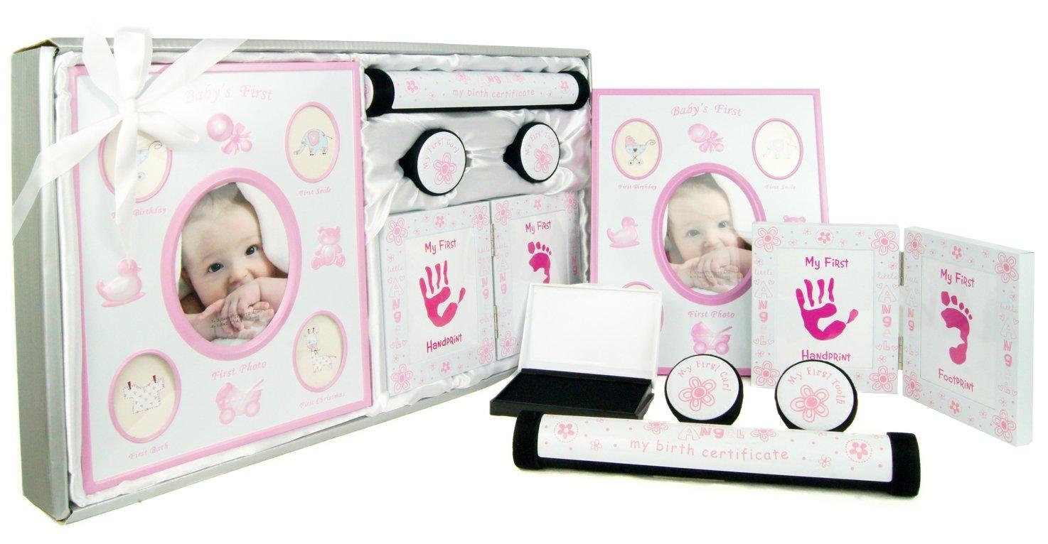 /álbum de fotos Rojo kit de huellas dactilares de pies y manos Gift Set Beb/é Rice caja para los dientes yprimera rizo incl Rosa Blanco