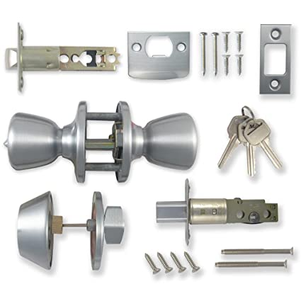 Single Deadbolt & Keyed Lock Entrance Handle Satin Silver - Cerradura de Puerta en Plata Pulido