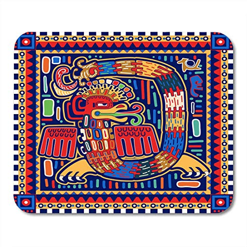 HZMJPAD Maya Colorful America Quetzalcoatl Ornamental Pattern Dragon Mayan Mouse Pad 8.6 X 7.1 in