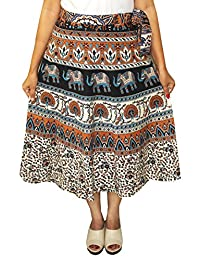 Printed India Long Skirt Wrap Around Womens Cotton Indian Clothes