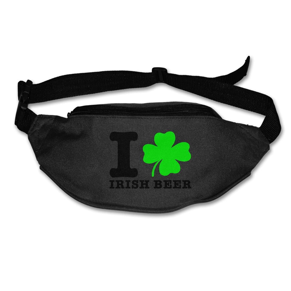 I Love Shamrock Irish Beer Sport Waist Pack Fanny Pack Adjustable For Hike