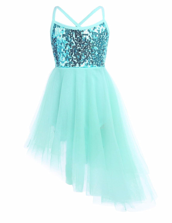 YiZYiF Girl's Ballerina Camisole Sequined Dancing Lyrical Dress Asymmetric Skirt Dancewear