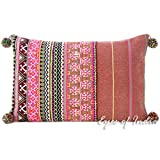 Eyes of India - 16 X 24 Burgundy Pink Dhurrie Pillow Cover Striped Bolster Lumbar Sofa Colorful Cushion Decorative Throw Couch Boho Seating Bohemian IndianCover Only