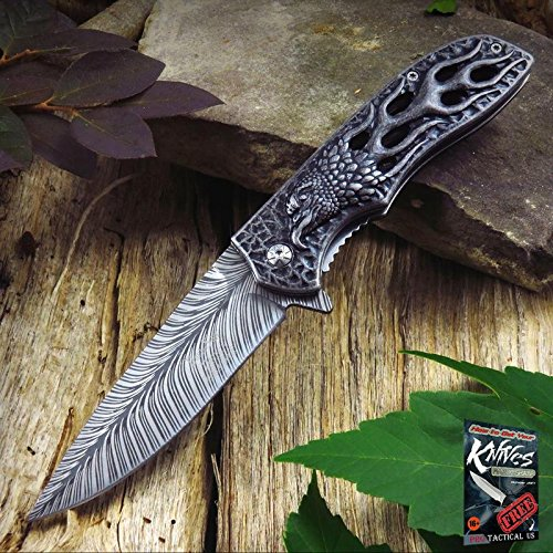 Eagle Feather Knife - Pocket Elite Spring Assisted Folding Knife Gray Flaming Eagle Feather Fantasy Tactical + free eBook by ProTactical'US
