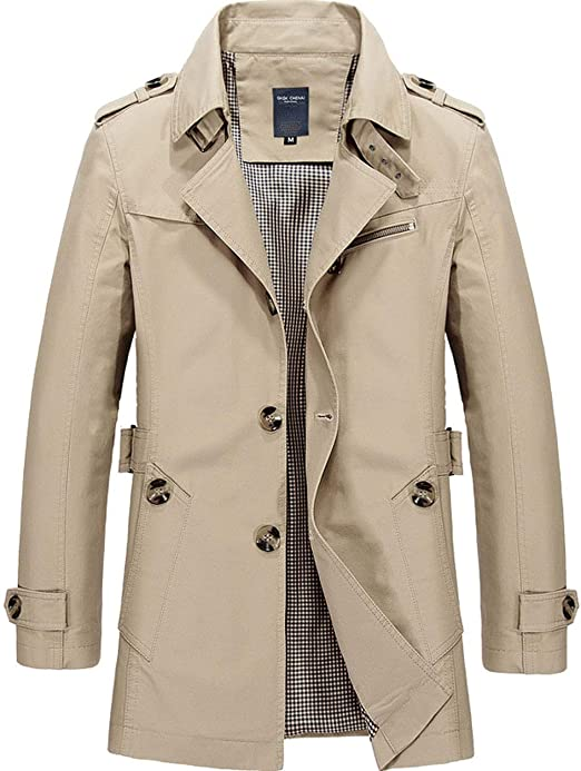 Elonglin Homme Trench Manteau Court Boutonné Caban Trench