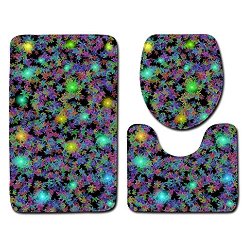 Bailunder 3 Piece Bathroom Mat Set, Colorful Maple Leaf Extra Soft Non-Slip Bath Mat Combo, Skidproof Toilet Seat Cover Bath Mat Lid Cover