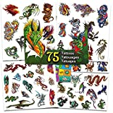 Dragon Temporary Tattoos Party Favor Set -- 75 Dragons Temporary Tattoos with PopArt Stickers (Dragon Party Supplies)