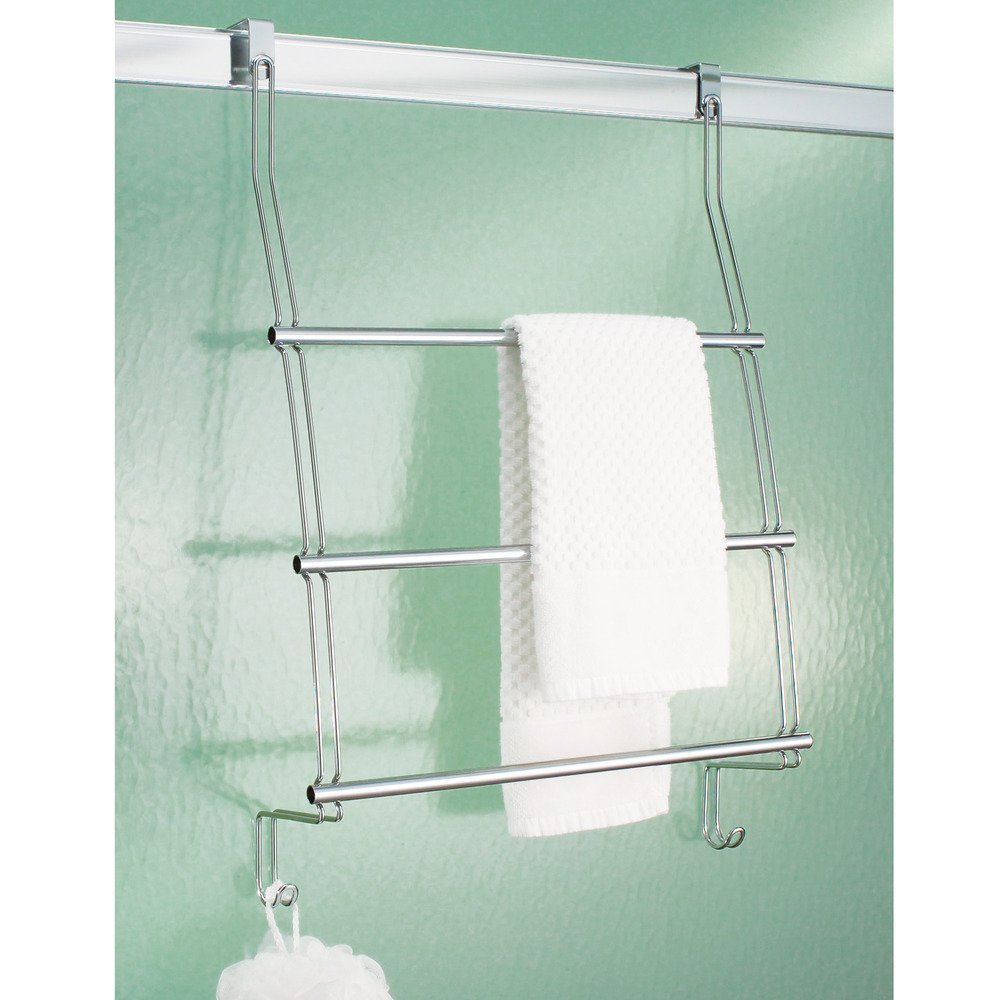 Amazon.com: InterDesign Classico Over The Door Towel Rack With Hooks For  Bathroom   Chrome: Home U0026 Kitchen