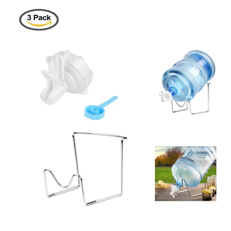 YOSPOSS-soporte dispensador de agua 2 – 5 galones de agua jarra soporte de metal chapado cuna con válvula dispensador de agua, tapón a prueba de polvo, palo de madera para 55 mm corona superior botella de agua, contador de camping hogar