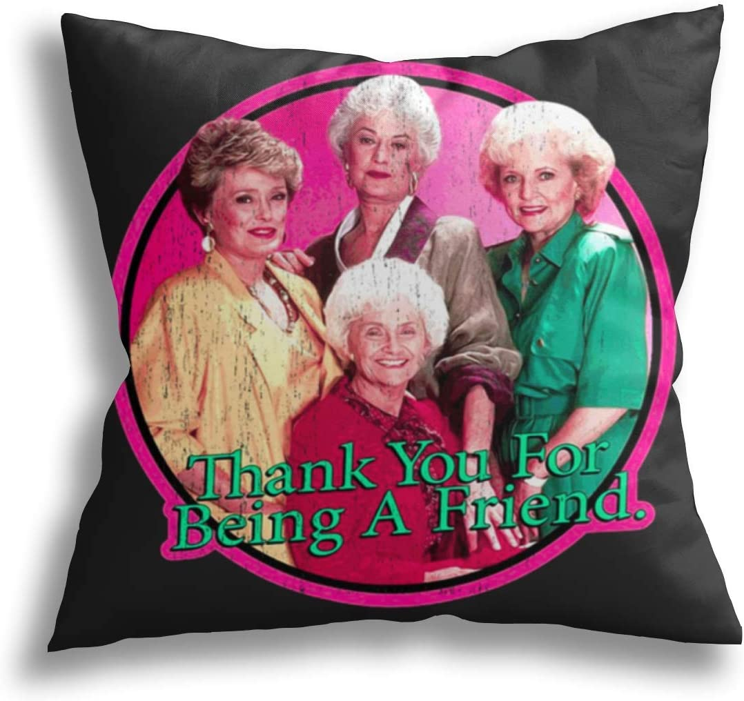 Wahom Golden-Girls Throw Pillow Cover Cushion Covers Pillowcase Square Decorative for Sofa Couch Bed Chair Car Home Decor 20×20inch