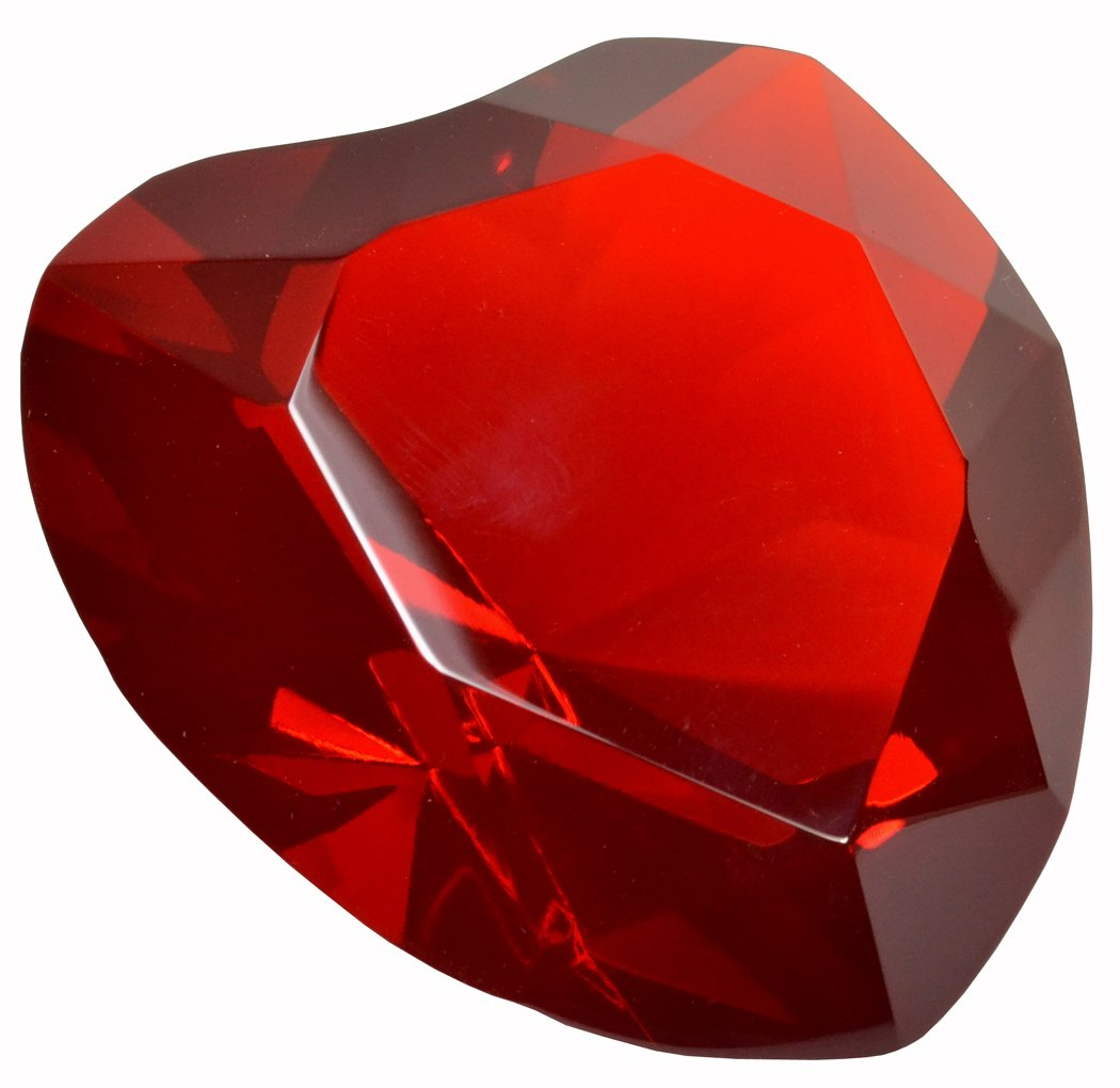 "Heart Paperweight Crystal 3"" Wide Engravable Solid Color Glass 80mm Red"