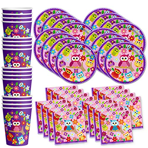 Patchwork Owl Birthday Party Supplies Set Plates Napkins Cups Tableware Kit for 16 by Birthday Galore -