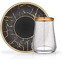 Glore Tarabya Çay Bardağı Tabağı Seti Siyah Mermer Mat Altın 12 Parça