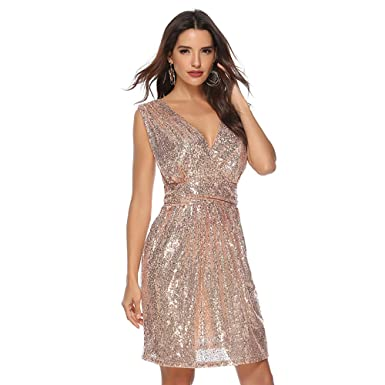 bd8a58bff206 Rostiumise Women Sequin Swing Mini Dress Deep V Neck Bridesmaid Cocktail  Dress(Rose Gold,
