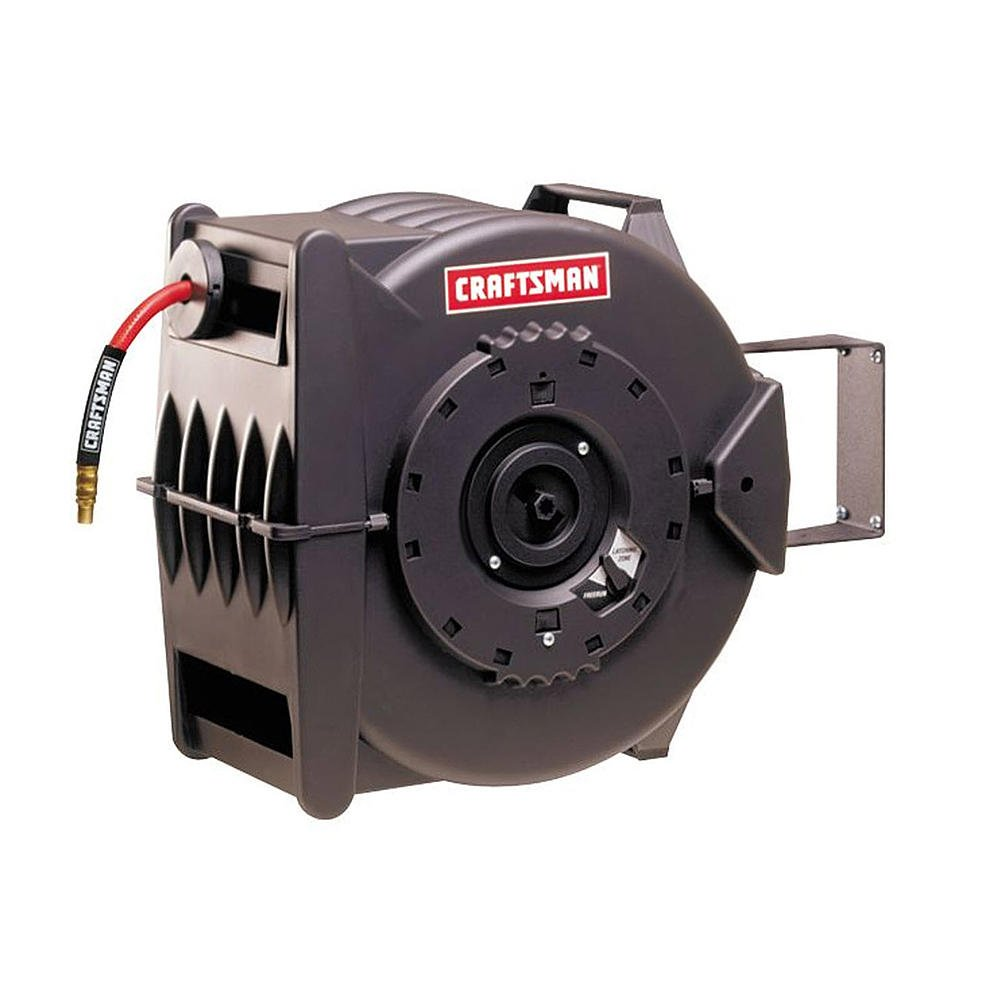 Craftsman Levelwind™ 3/8in'' X 100ft Air Compressor Retractable Hose Reel. Includes 100 Feet of Quality Pneumatic Hose and Can Be Wall Mounted, Freestanding or Mounted on the Ceiling. Perfect for Every Workshop or Garage, No More Tangled Air Hoses!