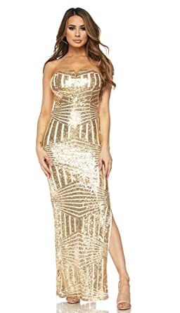 SOHO GLAM Light Gold Side Slit Strapless Geo Pattern Sequin Maxi Dress