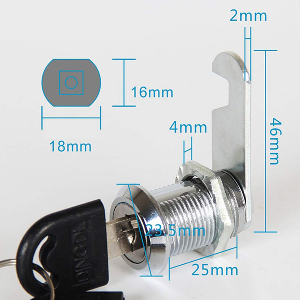 20 mm Cerradura de Leva para Puerta de Armario 2 Llaves caj/ón buz/ón 25 mm vaMtWYiD Armario 16 mm