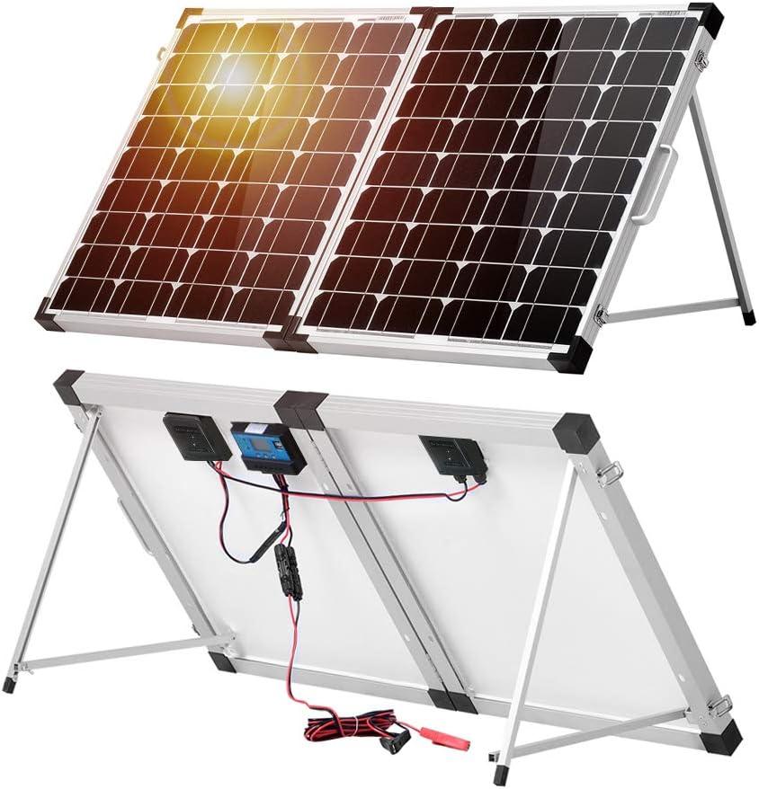 DOKIO 100 Watt 12 Volt Monocrystalline Foldable Portable Solar Suitcase with Waterproof Charge Controller for Caravan RV Boat Camper