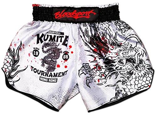 Muay Thai Shorts Kickboxing Martial Arts Combat Fight MMA UFC Boxer Boxing Trunks (M, Bloodsport) (Best Boxing Trunks Brand)