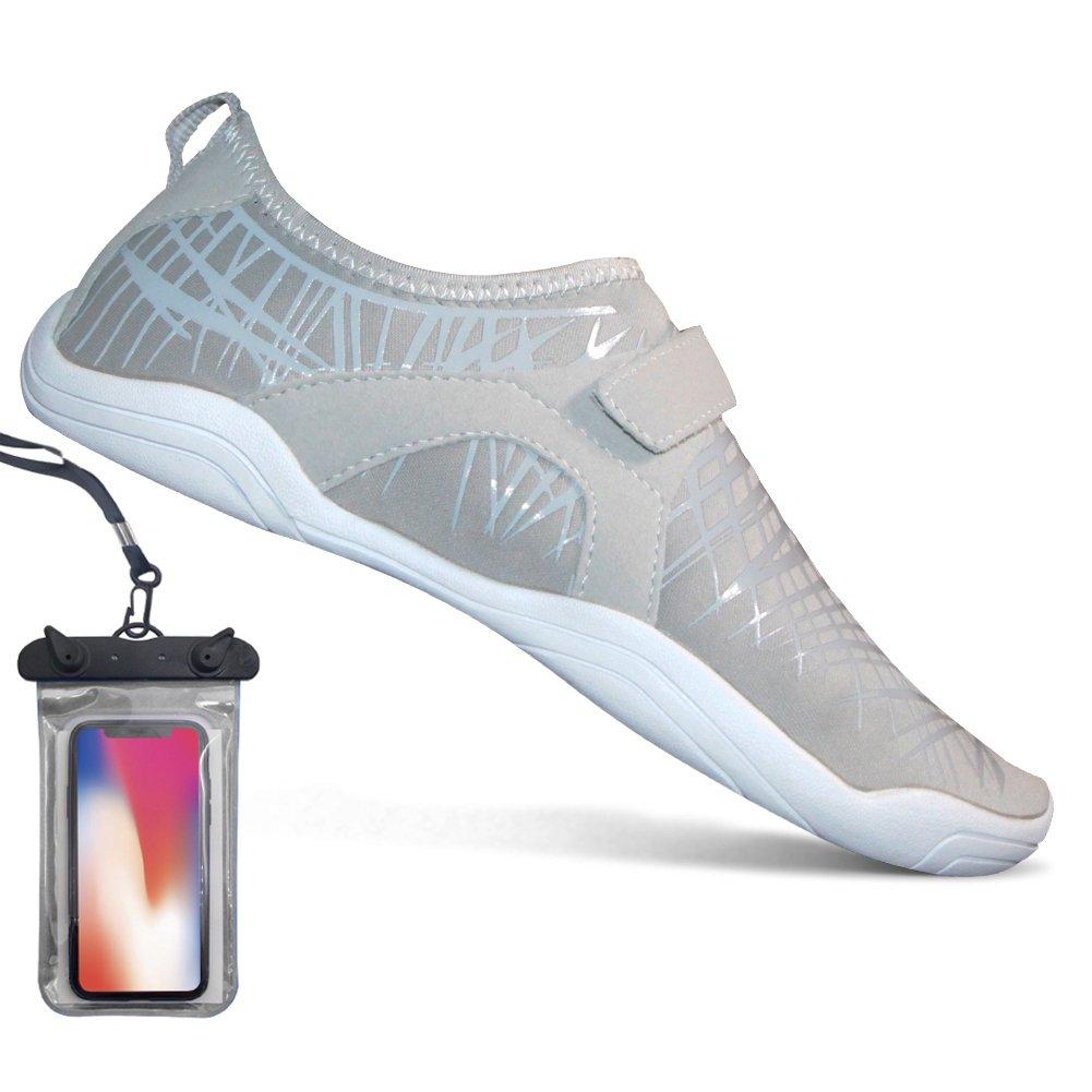 Bopika Barefoot Running Shoes Water Sports Shoes Quick-Dry Aqua Shoes for Women Men (EU40 (9 Women/7.5 Men), Grey)