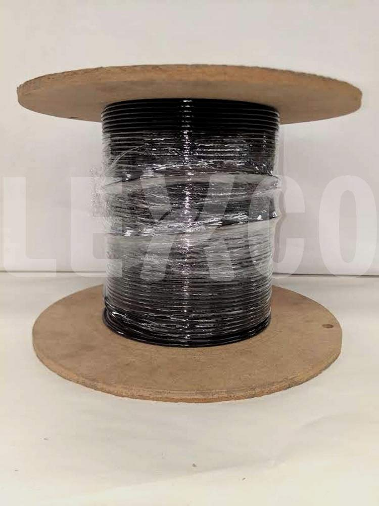 Lexco Cable 116718CCBK 250' Spool of 1/8'' Black PVC Coated 1/16'' 7x7 Galvanized Wire Rope by Lexco Cable