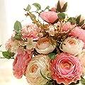 Artificial Fake Flowers Plants Silk Flower Arrangements Wedding Bouquets Decorations Plastic Floral Table Centerpieces for Home Kitchen Garden Party Décor