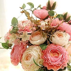 KIRIN Artificial Fake Flowers Plants Silk Rose Flower Arrangements Wedding Bouquets Decorations Plastic Floral Table Centerpieces Home Kitchen Garden Party Décor (Pink Champagne) 2