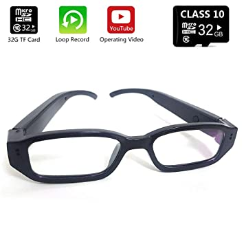 fa31ad29c7387 Amazon.com  Spy Eyeglasses Camera Glasses Hidden Camera HD Eyewear Mini  Portable DVR (32GB Included) Video Recorder Black (Updated Version)  Beauty