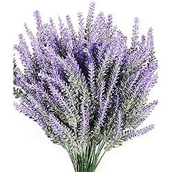 Luyue 8PCS Artificial Lavender Flowers Bouquet Fake Lavender Plant Bundle Wedding Home Decor Garden Patio Decoration