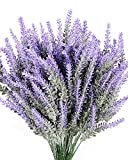 Luyue 8PCS Artificial Lavender Flowers Bouquet Fake Lavender Plant Bundle Wedding Home Decor Garden Patio Decoration
